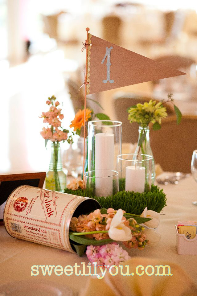 baseball wedding flowers pennant cracker jack centerpiece grass table number