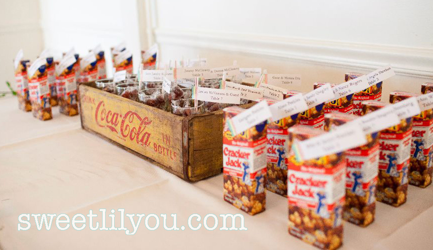 baseball wedding favors cracker jacks coke peanuts display seating chart