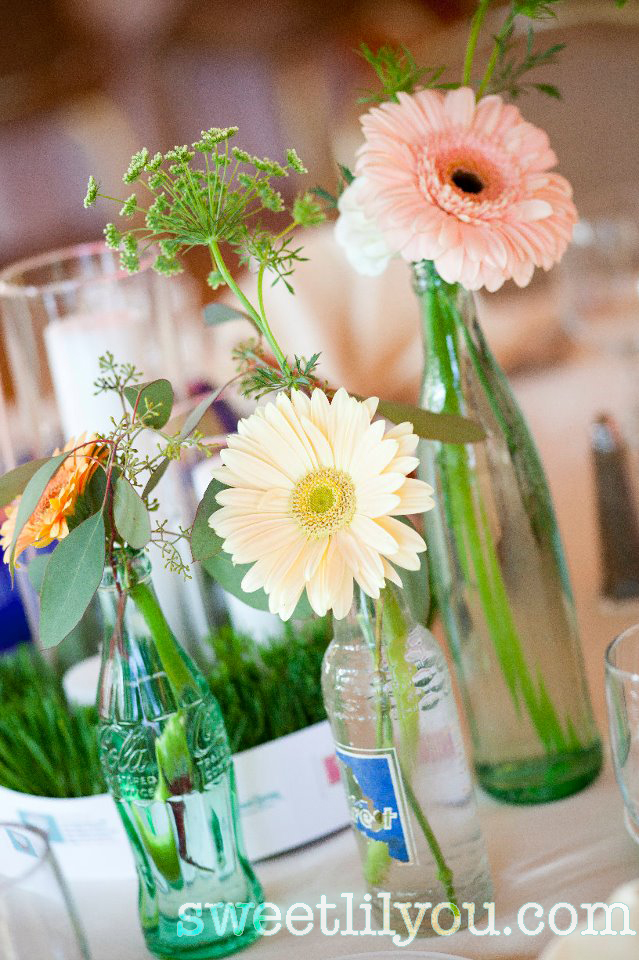 soda bottle wedding flowers