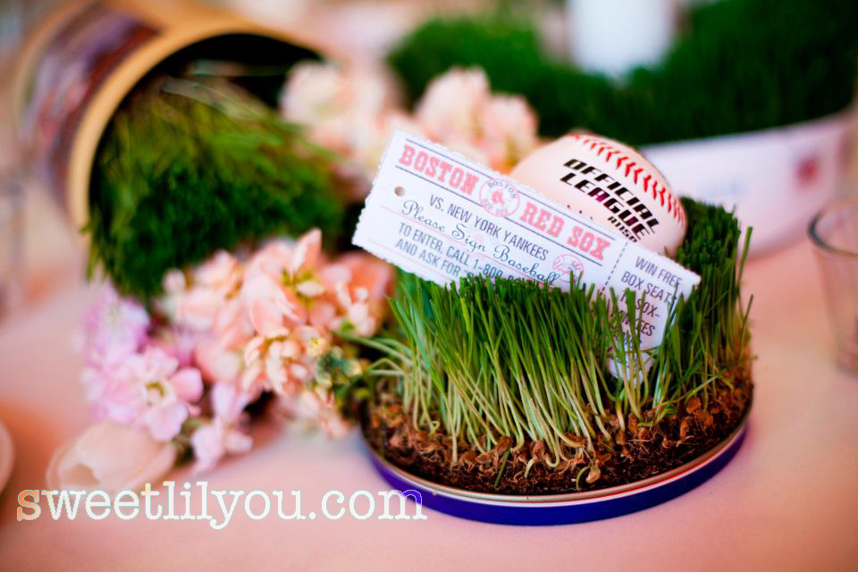 baseball wedding grass flowers