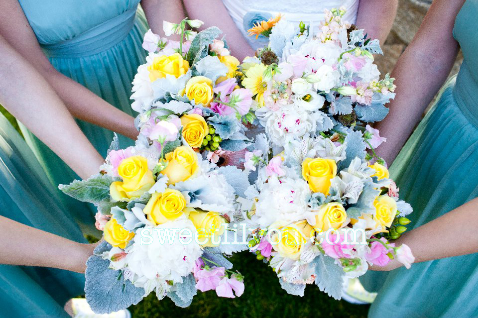 lambs ear pastel wedding flowers